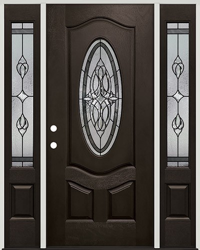 3/4 Oval Pre-finished Mahogany Fiberglass Prehung Door Unit with Sidelites #1007
