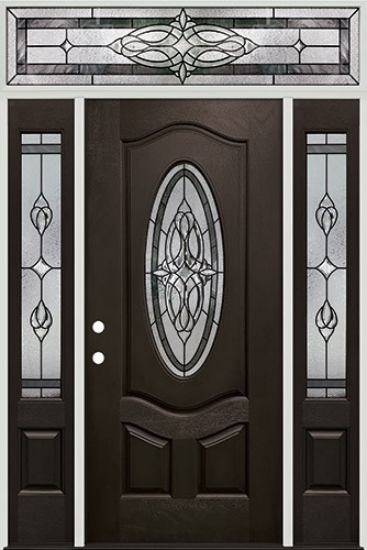 3/4 Oval Pre-finished Mahogany Fiberglass Prehung Door Unit with Transom #1007