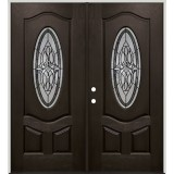 3/4 Oval Pre-finished Mahogany Fiberglass Prehung Double Door Unit #1007