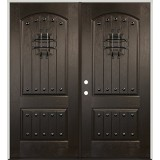 Rustic Pre-finished Mahogany Fiberglass Prehung Double Door Unit with Speakeasy