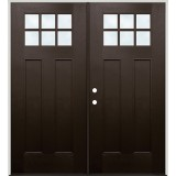 Craftsman 6-Lite Pre-finished Mahogany Fiberglass Prehung Double Door Unit