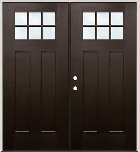 Craftsman 6-Lite Pre-finished Mahogany Fiberglass Prehung Double Door Unit