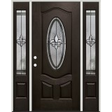 Fleur-de-lis 3/4 Oval Pre-finished Mahogany Fiberglass Prehung Door Unit with Sidelites #1018