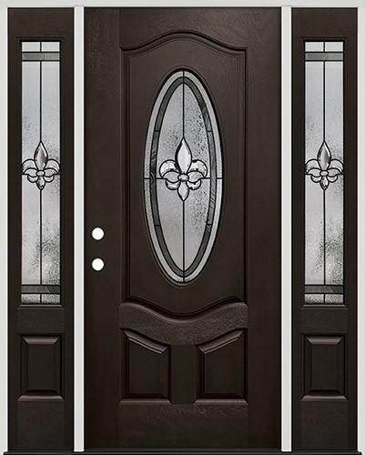 Fleur-de-lis 3/4 Oval Pre-finished Mahogany Fiberglass Prehung Door Unit with Sidelites #1018