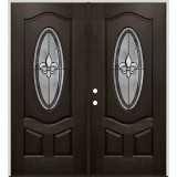 Fleur-de-lis 3/4 Oval Pre-finished Mahogany Fiberglass Prehung Double Door Unit #1018