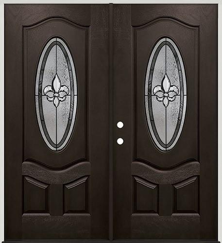 Fleur-de-lis 3/4 Oval Pre-finished Mahogany Fiberglass Prehung Double Door Unit #1018