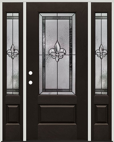 Fleur-de-lis 3/4 Lite Pre-finished Mahogany Fiberglass Prehung Door Unit with Sidelites #1019