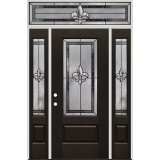 Fleur-de-lis 3/4 Lite Pre-finished Mahogany Fiberglass Prehung Door Unit with Transom #1019