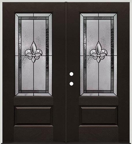 Fleur-de-lis 3/4 Lite Pre-finished Mahogany Fiberglass Prehung Double Door Unit #1019