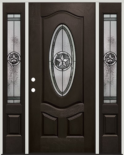 Texas Star 3/4 Oval Pre-finished Mahogany Fiberglass Prehung Door Unit with Sidelites #1026