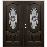 Texas Star 3/4 Oval Pre-finished Mahogany Fiberglass Prehung Double Door Unit #1026