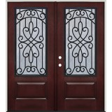 Pre-finished Mahogany Fiberglass Prehung Double Door Unit with External Iron Grille #1027