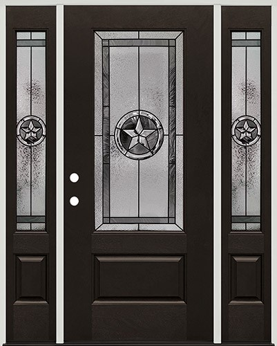 Texas Star 3/4 Lite Pre-finished Mahogany Fiberglass Prehung Door Unit with Sidelites #1032