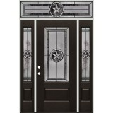 Texas Star 3/4 Lite Pre-finished Mahogany Fiberglass Prehung Door Unit with Transom #1032