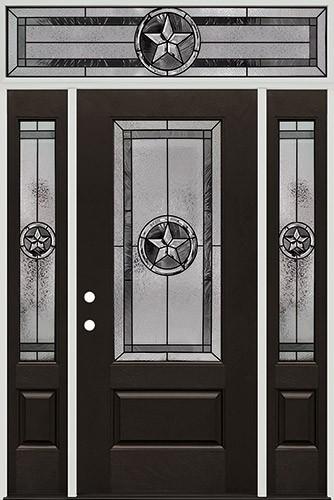 Texas Star 3/4 Lite Pre-finished Mahogany Fiberglass Prehung Door Unit with Transom #1032