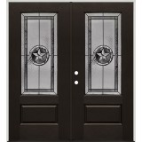 Texas Star 3/4 Lite Pre-finished Mahogany Fiberglass Prehung Double Door Unit #1032