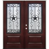 Pre-finished Mahogany Fiberglass Prehung Double Door Unit with Star External Iron Grille #1035
