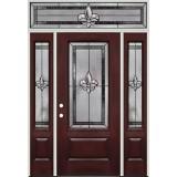Fleur-de-lis Full Lite Pre-finished Mahogany Fiberglass Prehung Door Unit with Transom #1036