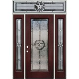 Texas Star Full Lite Pre-finished Mahogany Fiberglass Prehung Door Unit with Transom #1038