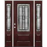 3/4 Lite Pre-finished Mahogany Fiberglass Prehung Door Unit with Sidelites #1040