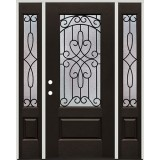 3/4 Lite Pre-finished Mahogany Fiberglass Prehung Door Unit with Sidelites #1041