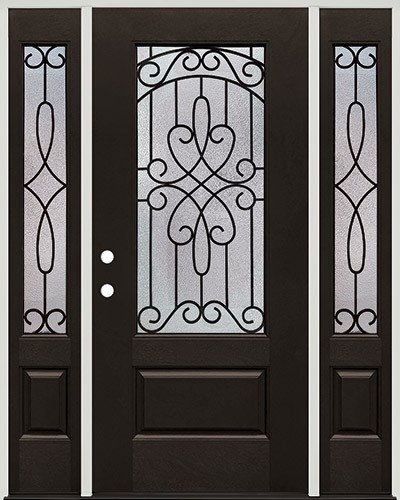 3/4 Lite Pre-finished Mahogany Fiberglass Prehung Door Unit with Sidelites #279