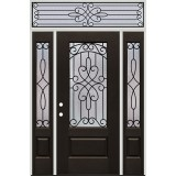 3/4 Lite Pre-finished Mahogany Fiberglass Prehung Door Unit with Transom #1041