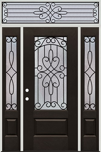 3/4 Lite Pre-finished Mahogany Fiberglass Prehung Door Unit with Transom #1041