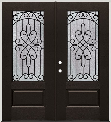 3/4 Lite Pre-finished Mahogany Fiberglass Prehung Double Door Unit #1041