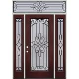 Full Lite Pre-finished Mahogany Fiberglass Prehung Door Unit with Transom #1045