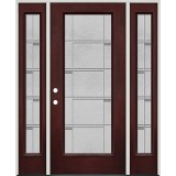 Full Lite Pre-finished Mahogany Fiberglass Prehung Door Unit with Sidelites #1072