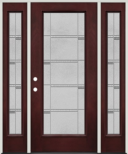Full Lite Pre-finished Mahogany Fiberglass Prehung Door Unit with Sidelites #1072