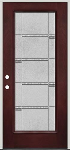 Full Lite Pre-finished Mahogany Fiberglass Prehung Door Unit #1072