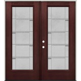 Full Lite Pre-finished Mahogany Fiberglass Prehung Double Door Unit #1072