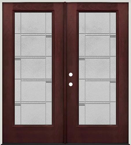 Full Lite Pre-finished Mahogany Fiberglass Prehung Double Door Unit #1072