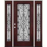 Full Lite Pre-finished Mahogany Fiberglass Prehung Door Unit with Sidelites #1075