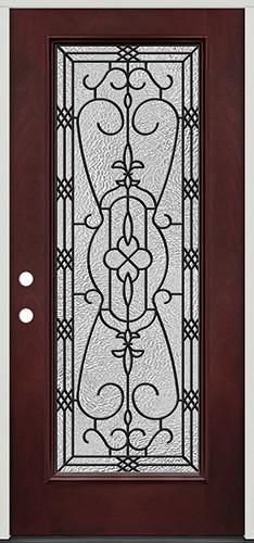 Full Lite Pre-finished Mahogany Fiberglass Prehung Door Unit #1075