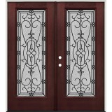 Full Lite Pre-finished Mahogany Fiberglass Prehung Double Door Unit #1075