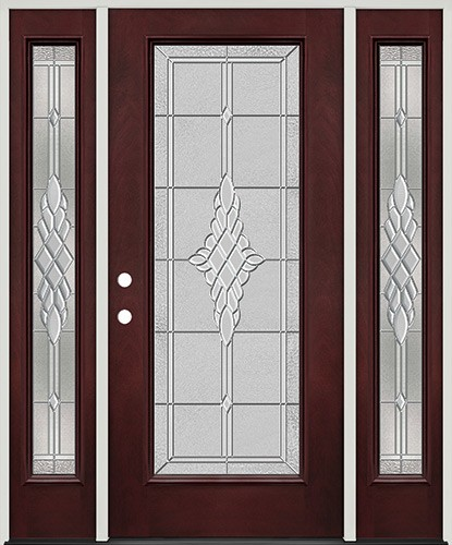 Full Lite Pre-finished Mahogany Fiberglass Prehung Door Unit with Sidelites #1076