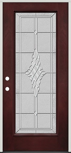 Full Lite Pre-finished Mahogany Fiberglass Prehung Door Unit #1076