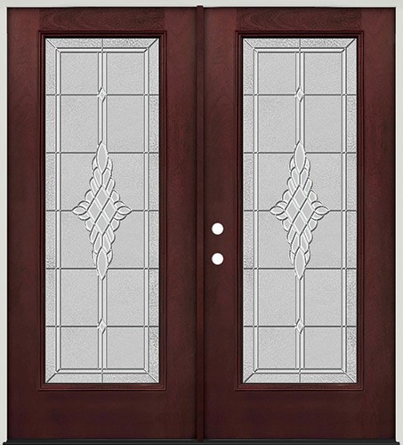Full Lite Pre-finished Mahogany Fiberglass Prehung Double Door Unit #1076