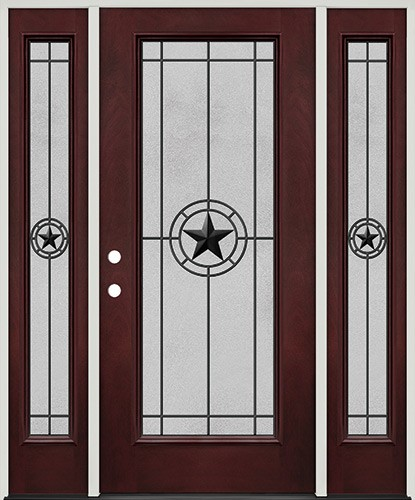 Full Lite Pre-finished Mahogany Fiberglass Prehung Door Unit with Sidelites #1077