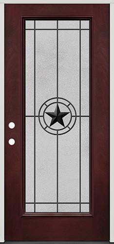 Full Lite Pre-finished Mahogany Fiberglass Prehung Door Unit #1077