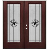 Full Lite Pre-finished Mahogany Fiberglass Prehung Double Door Unit #1077