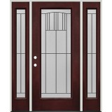 Full Lite Pre-finished Mahogany Fiberglass Prehung Door Unit with Sidelites #1078