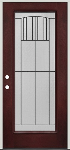 Full Lite Pre-finished Mahogany Fiberglass Prehung Door Unit #1078