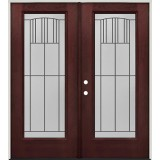 Full Lite Pre-finished Mahogany Fiberglass Prehung Double Door Unit #1078