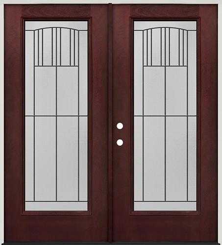 Full Lite Pre-finished Mahogany Fiberglass Prehung Double Door Unit #1078