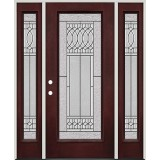 Full Lite Pre-finished Mahogany Fiberglass Prehung Door Unit with Sidelites #1079