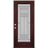 Full Lite Pre-finished Mahogany Fiberglass Prehung Door Unit #1079